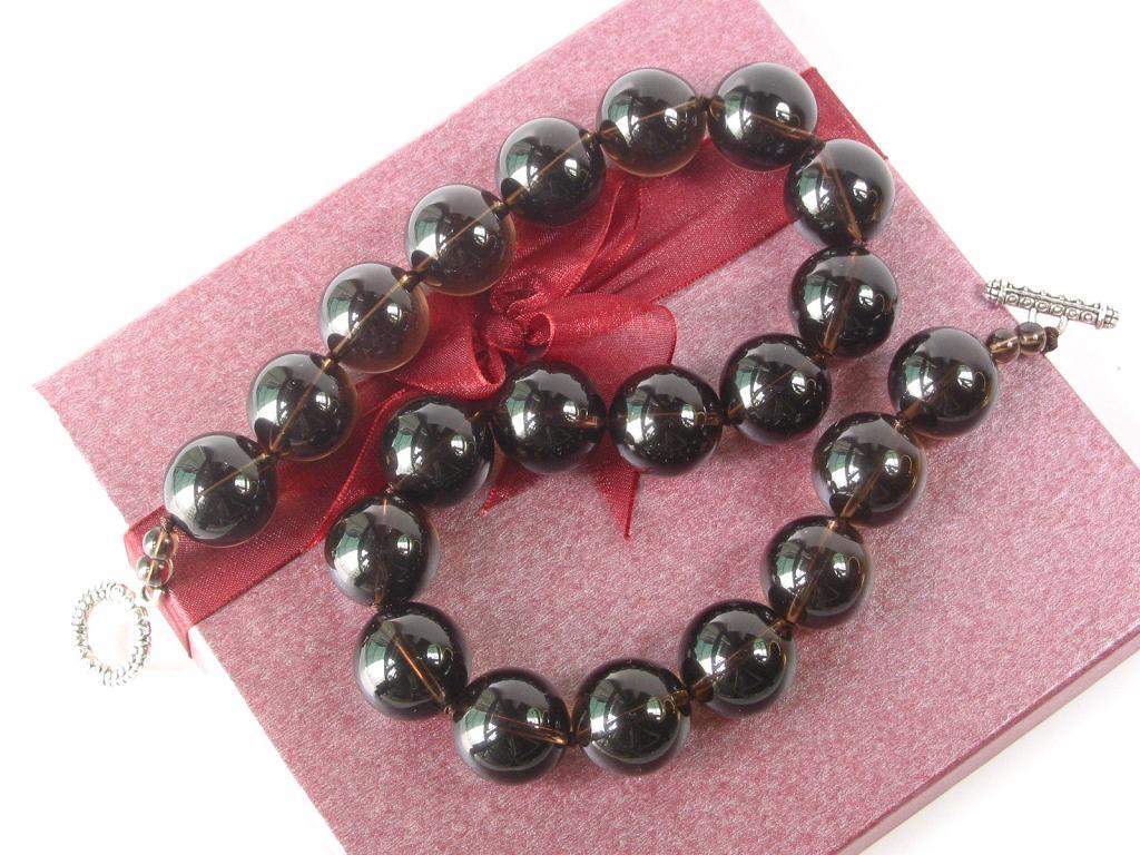 gemstone necklace smokey quartz large 18mm ebay