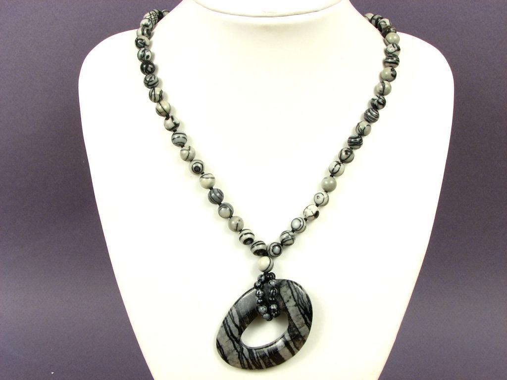 gemstone necklace network jasper large 54mm agogo donut