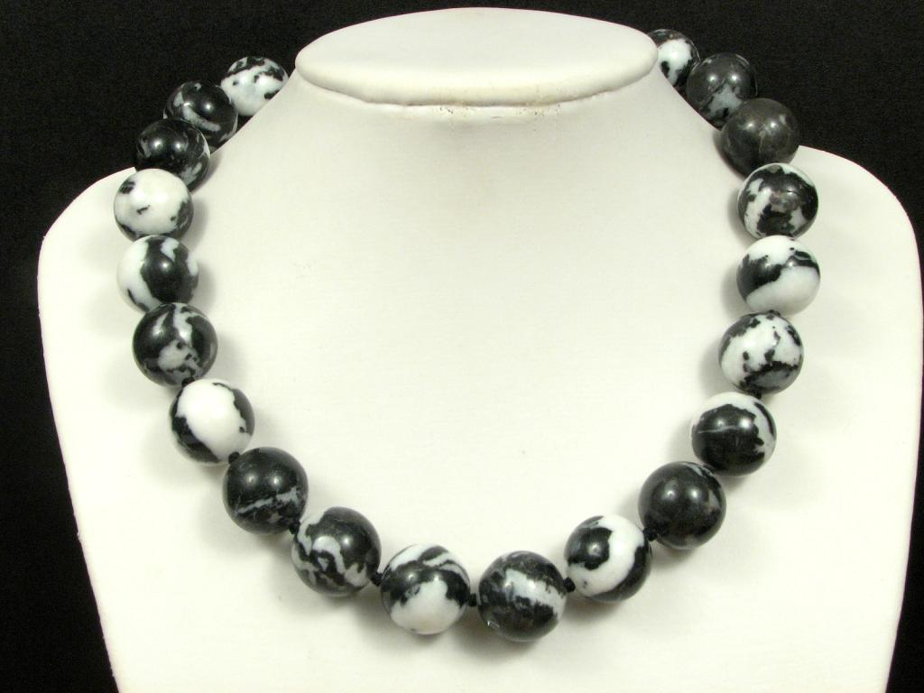 necklace zebra jasper 18mm 925 ebay